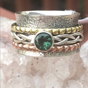 BOUTIQUE GREEN TOURMALINE SPINNER 925 RING, SIZE 7